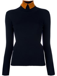 Roberto Collina High Neck Collar Jumper Blue