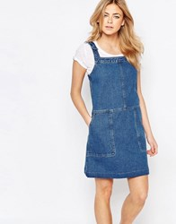 Oasis Patch Pocket Dungaree Dress Denim Blue