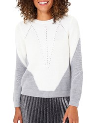 Miss Selfridge Colorblock Knitted Jumper Cream