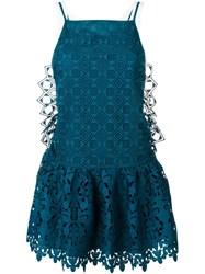 No21 Embroidered Lace Dropped Waist Dress Green
