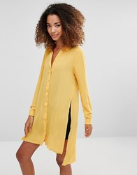 Vero Moda Shirt Dress With Slits And Closed Back Spicy Mustard Yellow
