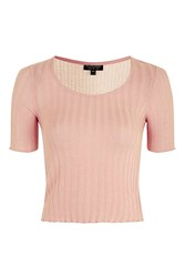 Topshop Knitted Tee Pale Pink