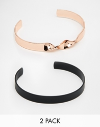 Asos Bangle Pack In Rose Gold And Black Multi