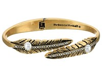 Rebecca Minkoff Feather Oval Hinge Bracelet Antique Gold Pearl Bracelet