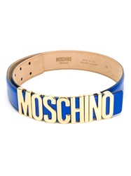 Moschino Logo Plaque Belt Blue