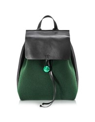 Corto Moltedo Rose Green Felt And Black Leather Backpack