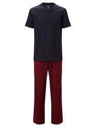 John Lewis Honiton Check Trousers And T Shirt Lounge Set Navy Red