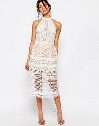 Jarlo Selma Halter Neck Cut Out Lace Midi Dress Ivory
