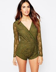 Glamorous Long Sleeve Lace Playsuit Green