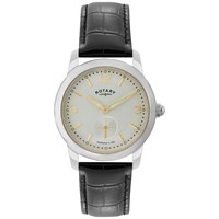 Rotary Gs02700 06 Men's Cambridge Leather Strap Watch Black Silver