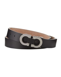 Salvatore Ferragamo Double Gancini Adjustable Leather Belt Black