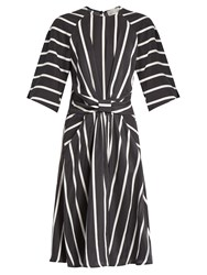 Preen Gracie Striped Washed Silk Dress Black Stripe