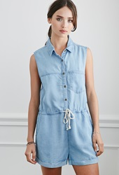 Forever 21 Buttoned Chambray Romper Light Denim