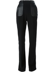 David Koma Contrasting Pocket Flared Trousers Black