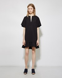 Proenza Schouler Flared Poplin Dress Black
