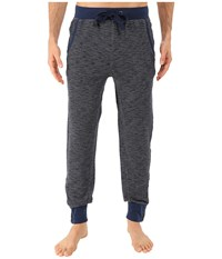 2Xist Textured Lounge 2 Tapered Sweatpants W Zipper Cuff Chambray Heather Men's Casual Pants Blue