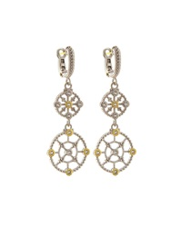 Judith Ripka Sterling Silver And Sapphire Trellis Double Drop Earrings White