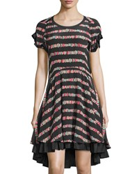 See By Chloe Striped Short Sleeve High Low Dress Black