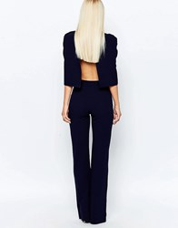 Club L Jumpsuit With Overlay Cape Detail Navy Cream