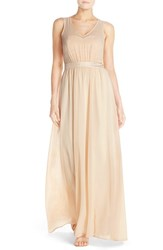 Paper Crown Women's By Lauren Conrad 'Madeline' Shimmer Bodice Gown Vintage Gold Cream Chiffon