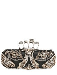 Alexander Mcqueen Embroidered Jeweled Knuckle Box Clutch