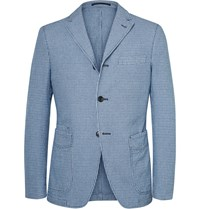 Officine Generale Indigo And White Slim Fit Houndstooth Cotton Blazer Blue