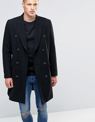 Asos Wool Mix Double Breasted Overcoat In Black Black