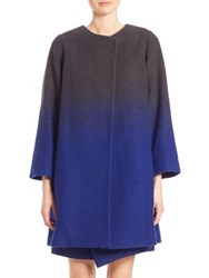 Armani Collezioni Wool Ombre Coat Royal Blue Multi