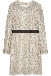 Emilio Pucci Embellished Cotton Blend Lace And Tulle Dress White