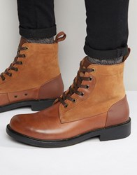 G Star Myrow Lace Up Leather Boots Brown