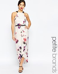 Little Mistress Petite Floral Printed Halter Maxi Dress With Wrap Skirt Multi