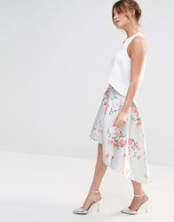 Chi Chi London Floral Midi Skirt Gray Floral Print