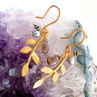 Branch On The Park Gold Plated Eloise Leaf Earrings