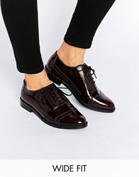 Asos Make Up Wide Fit Leather Brogues Oxblood Brown