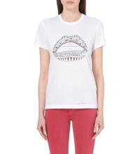 Markus Lupfer Kate Lip Cotton Jersey T Shirt White