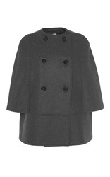 Martin Grant Short Double Breasted Wool Cape Dark Grey