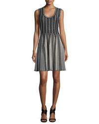 M Missoni Striped Sleeveless Fit And Flare Dress Black White