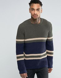 Asos Crew Jumper With Stripe Design In Chenille Navy