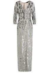 Jenny Packham Embellished Silk Gown Silver