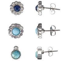 John Lewis Diamante Stud Earrings Pack Of 3 Silver Blue