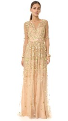 Marchesa Embroidered Low V Gown Nude