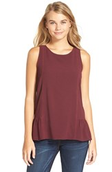 Junior Women's Frenchi Inset Trim Peplum Tank