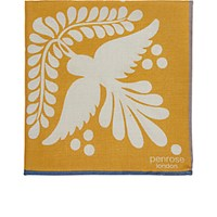 Penrose London Men's Bird Tile Print Dotterel Pocket Square Yellow