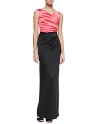 Talbot Runhof Colly Sleeveless Ruched Two Tone Gown