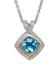 Lord And Taylor Blue Topaz 14K Yellow Gold Pendant Necklace