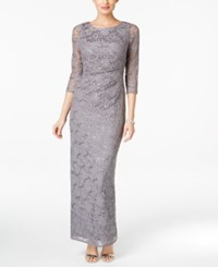 Jessica Howard Sequined Lace Draped Column Gown Gray