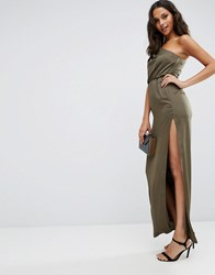 Asos One Shoulder Drape Maxi Dress Khaki Green