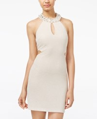 Teeze Me Juniors' Embellished Cutout Bodycon Dress Taupe Gold
