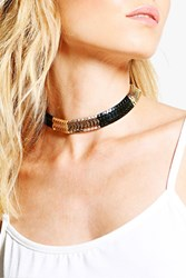 Boohoo Metal Statement Choker Black