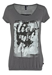 S.Oliver Denim Print Tshirt Graphit Anthracite